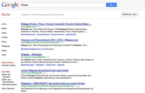 """Google Suchergebnisse für """"Friseur"""" mit Standort """"Deutschland"""""""