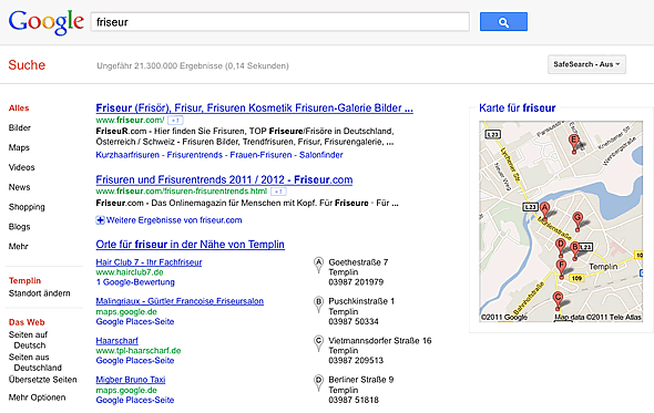 """Google Suchergebnisse für """"Friseur"""" mit Standort """"Templin"""""""