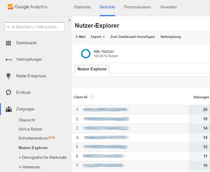 Google Analytics Nutzter-Explorer