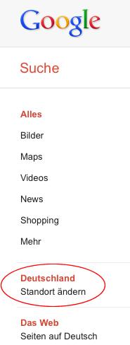 Google-Suche Standort: Deutschland