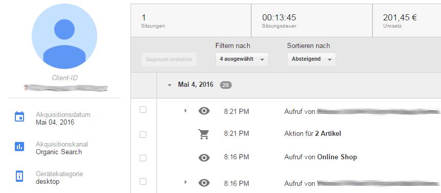 Nutzer-Explorer Nutzerbericht in Google Analytics